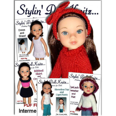 Knitting,Patterns,,Doll,clothes,,Fit,Hearts,for,Hearts,,13-14,inch,PDF,20,knitting patterns,doll clothes,Hearts for Hearts dolls,hearts4Hearts,13 inch doll,14 inch dol,pants,sweater,hat,dress,stylindollknitz,knit tutorial,Jo MacKinnon