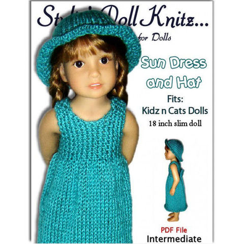 Knitting,Pattern,fits,Kidz,n,Cats,Dolls.,Sun,Dress,and,Hat.,PDF,,452,Patterns,Doll_Clothing,PDF_Knitting_Pattern,Kids_n_Cats_dolls,Summer_Sun_Dress,Brimmed_hat,18_inch_Slim_Doll,Kids_and_Cats_Dolls,knitting,knit_tutorial,instant_download,printable_pattern,dress_instructions,StylinDollKnitz,Knitting pattern,PDF File