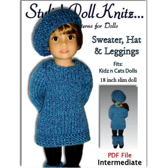 Knitting Pattern fits Kidz n Cats Dolls. Sweater, Hat, and Leggings, PDF, 451 - product images  of