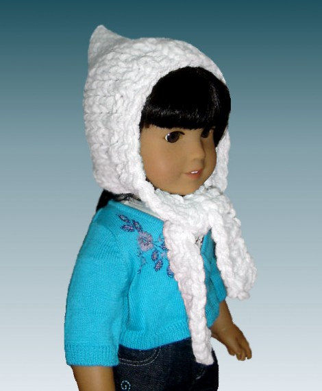 Knitting Patterns Hat Scarf Combination : Knitting Pattern. Fits 18 inch, American Girl, Pixie Hat ...