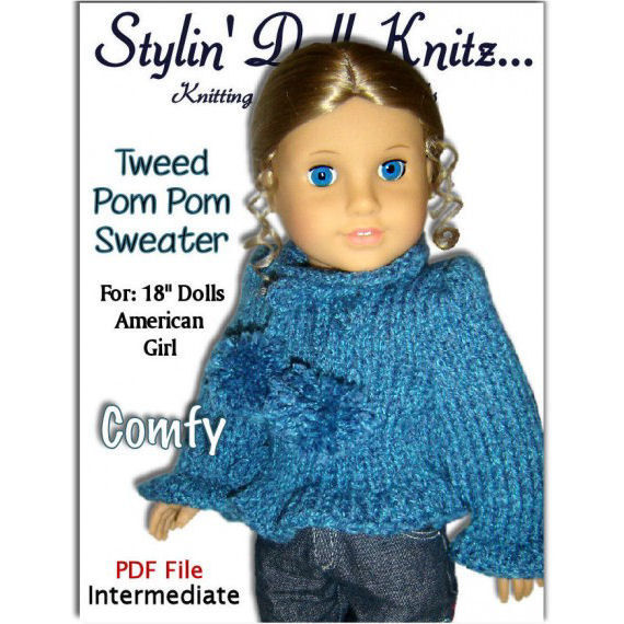 Knitting Pattern For American Girl Doll. Sweater, 18 inch. 050 - product images  of