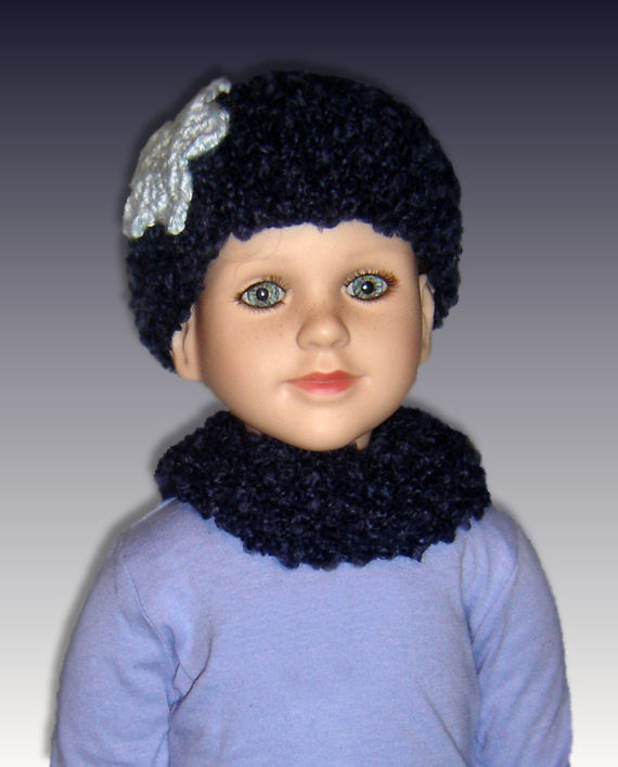 PDF Knitting Pattern, Beanie Hat and Neck Warmer, My Twinn. 23 inch doll 1602...