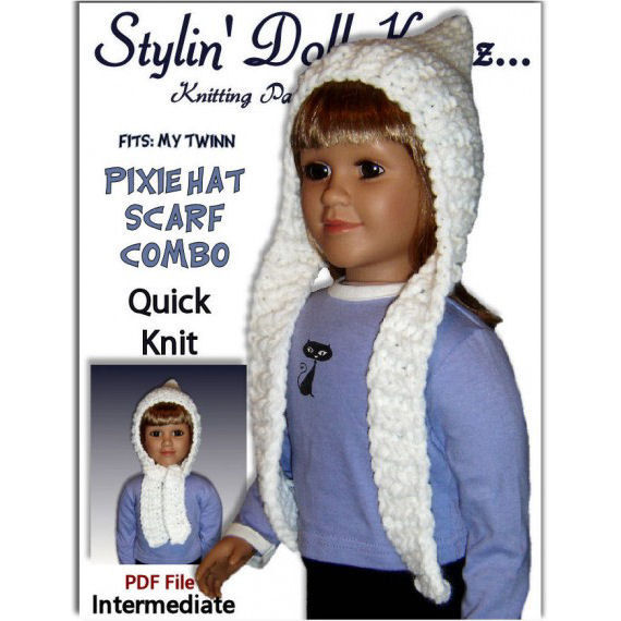 PDF Knitting Pattern, Pixie Hat, Scarf Combo, My Twinn. 23 inch doll 1606 - S...