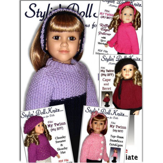 Knitting Patterns, Fit My Twinn Doll  Doll clothes, 23 inch. PDF 60 - product images  of