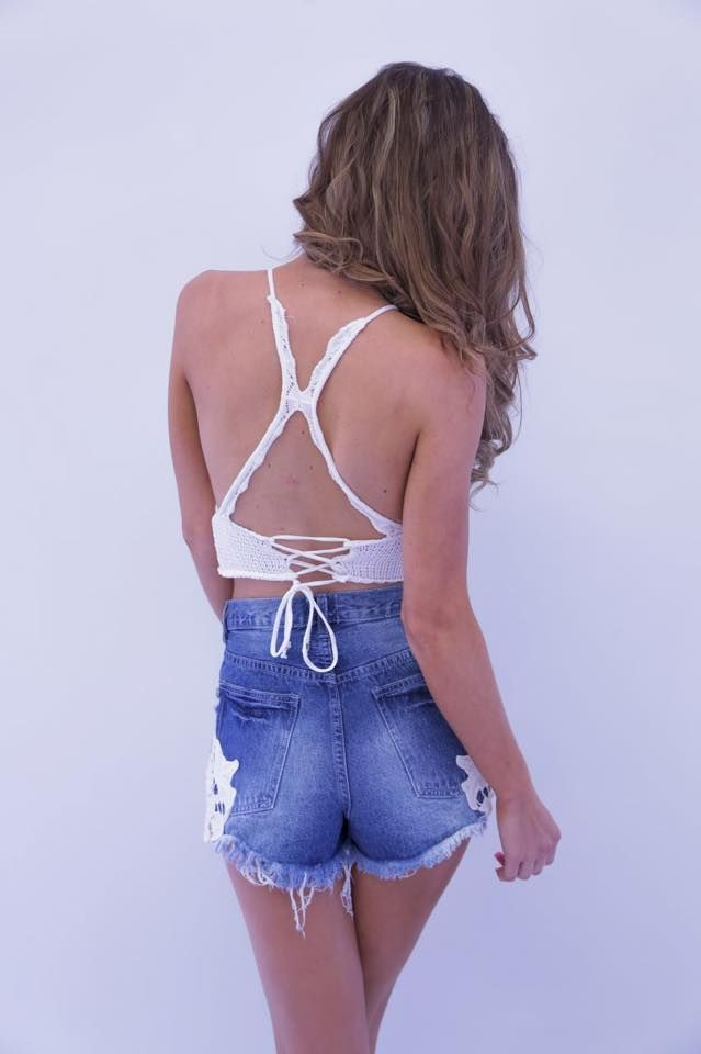 FAST Lane Crochet Crop- WHITE - product images  of