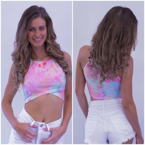 Candy,Crush,Crop,candy crop tie dye tye festival barbie pink summer cute fashion perth
