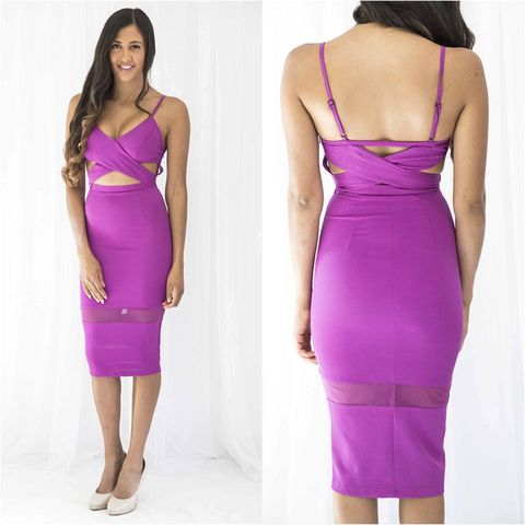 HIgh,Voltage,Midi,Dress,midi bridesmaid magenta purple dress fashion boutique perth sydney