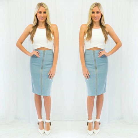 Blue,Jay,Denim,Midi,midi denim zip skirt fashion boutique peppermayo perth baby blue blue