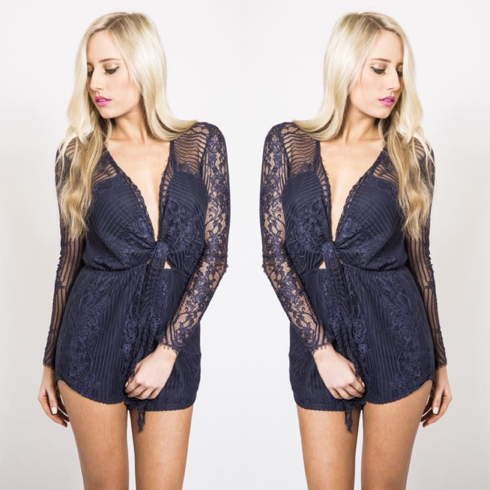 Vixen Playsuit - NAVY - product images  of