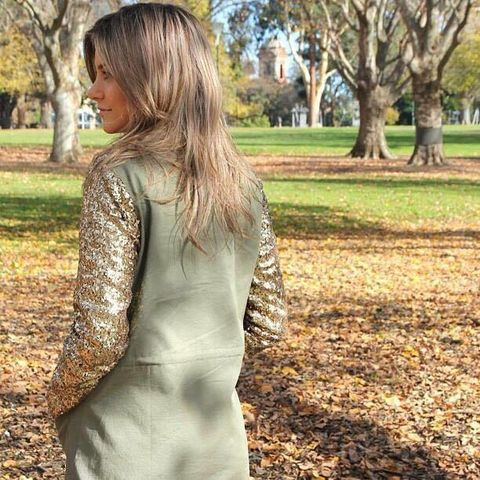 Khaki,Coat,w/Sequin,Sleeves,Madison square Wilde heart khaki sequin coat jacket trench sale perth