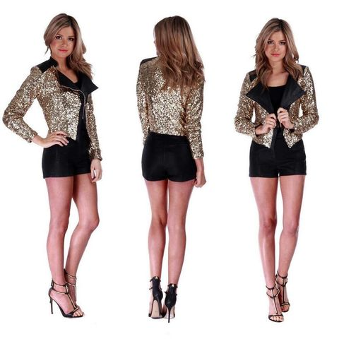 Sequin,Blazer,madison square clothing Wilde heart sequin leather jacket leatherette
