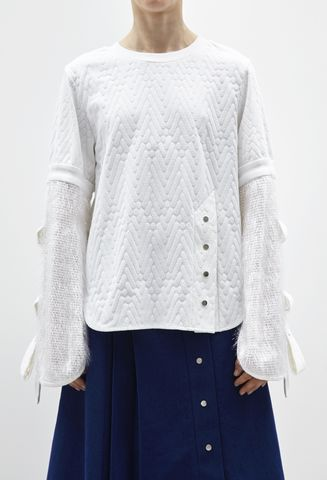 JRS17T05,-,ALICE,JUMPER,WITH,BELL,SLEEVE,Jamie Wei Huang, Alice Jumper with Bell Sleeve,  White, Crystal, Rib, Jumper, Resort, RS17, Sweatshirt