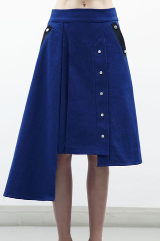 JRS17SK02,-,CLAIRE,ALINE,DENIM,SKIRT,Jamie Wei Huang, Resort, RS17, 100% Hair on Calves, Asymmetrical, Aline, Blue, Denim, Poppers, Knee Length, Skirt