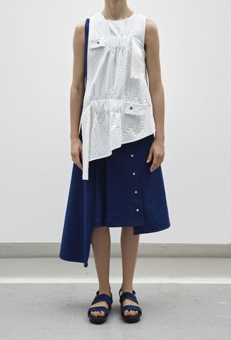 JRS17T03,-,RICARDA,GATHER,VEST,Denim, White, Towelling, Jamie Wei Huang, RS17, RESORT, Elastic, Gathered, Top