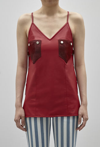 JRS17T01,-,CLAIRE,LEATHER,TOP,Jamie Wei Huang, Claire Leather Top, Leather, Red, Vest, RS17, Nappa, Camisole