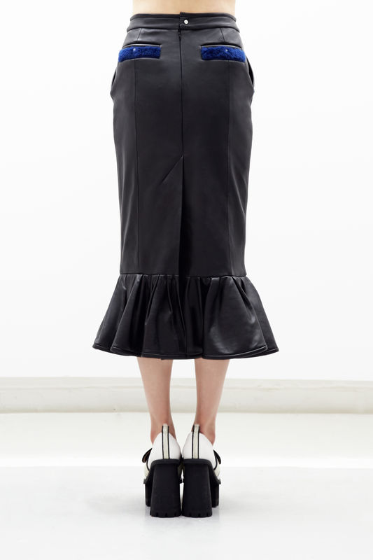 NEW IN STOCK:NATALIE LEATHER RUFFLE PENCIL SKIRT - Jamie Wei Huang