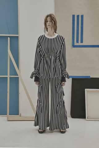 IN,STOCK,-,RICARDA,GATHER,STRIPE,TROUSER,Jamie Wei Huang, SS17, The Kool Kids, Spring Summer, Wide leg, Gather, Trouser, Navy Stripe, Jersey, RICARDA GATHER TROUSER STRIPE