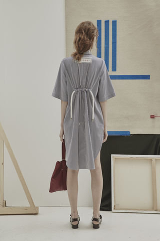 JS17D01-,ALICE,EMBROIDERY,STRIPE,SHIRT,DRESS,Jamie Wei Huang, SS17, The Kool Kids, Spring Summer, Stripe, Embroidery, Dress, Shirt Dress, Zip, ALICE EMBROIDERY STRIPE SHIRT DRESS