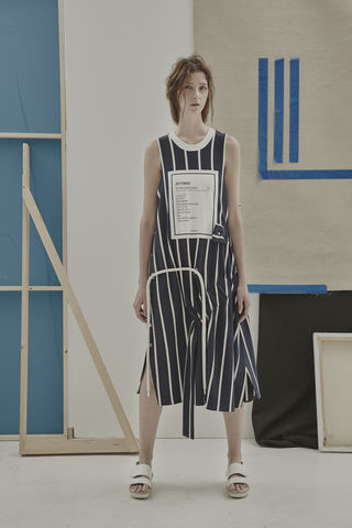 JS17D03-,RICARDA,GATHER,DRESS,Jamie Wei Huang, SS17, The Kool Kids, Spring Summer, Navy Stripe , Gather, Snaps, Dress, RICARDA GATHER DRESS