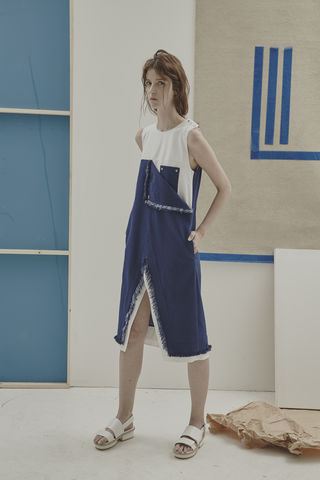 IN,STOCK,-,BOYOUN,CONTRAST,DRESS,Jamie Wei Huang, SS17, The Kool Kids, Spring Summer, Denim, Shirting, Dress, BOYOUN CONTRAST DRESS