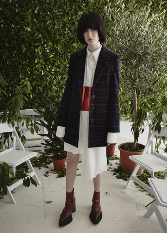 JW17J02,-,ALICE,JACKET,Jamie Wei Huang, AW17, Autumn Winter, Wool Check, Coat, ALICE JACKET, Navy, Red