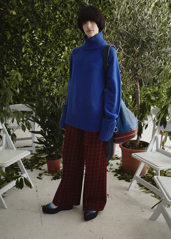JW17P02,-,LAUREN,CHECK,TROUSERS,Jamie Wei Huang, AW17, Autumn Winter, Check, Trousers, LAUREN TROUSERS, Red
