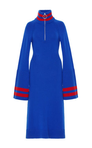 JW17KD01,-,CASHMERE,BELL,SLEEVE,DRESS,Jamie Wei Huang, AW17, Autumn Winter, Bell Sleeve, Dress, CASHMERE BELL SLEEVE DRESS, Blue, Red, Cashmere, Knitwear
