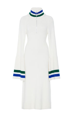 JW17KD01,-,CASHMERE,BELL,SLEEVE,DRESS,Jamie Wei Huang, AW17, Autumn Winter, Bell Sleeve, Dress, CASHMERE BELL SLEEVE DRESS, White/Blue/Green, Cashmere, Knitwear