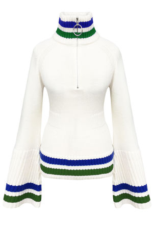 JW17KT02,-,CASHMERE,BELL,SLEEVE,TOP,Jamie Wei Huang, AW17, Autumn Winter, Bell Sleeve, Jumper, CASHMERE BELL SLEEVE TOP, White/Blue/Green, Cashmere, Knitwear