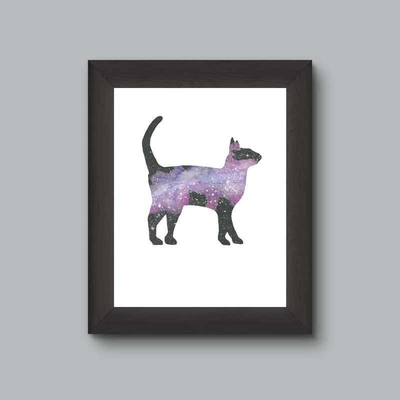 Purple Cat Galaxy Nebula Space Art Print - product images