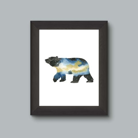 Blue,Yellow,Bear,Nebula,Galaxy,Art,Print,blue yellow black nebula galaxy space outdoors wild nature bear ursa outerspace explore geek nerd science cabin watercolor paintingspace astronomy cub