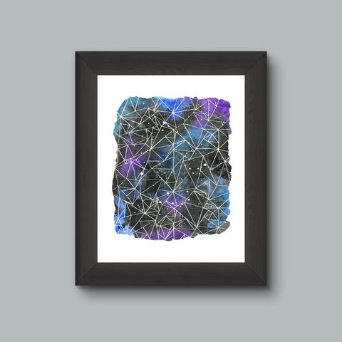 Geometric,Galaxy,Watercolor,Painting,Fine,Art,Print,Geometric art, geometric print, geometric painting, watercolor galaxy print, triangle art, space art, astronomy art, geek art print, nerd decor