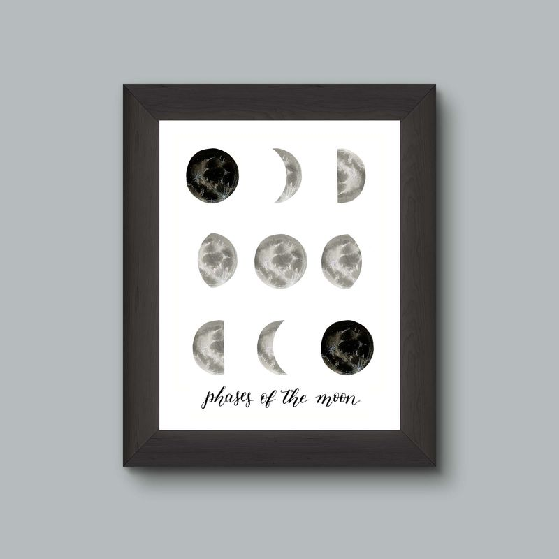 Moon Phases Watercolor Art Print - product images