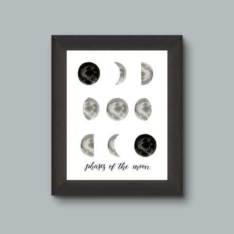 Moon,Phases,Watercolor,Art,Print,art print, moon art, moon decor, phases of the moon, lunar phases, luna, space art, night sky art, astronomy, full moon art, new moon art print