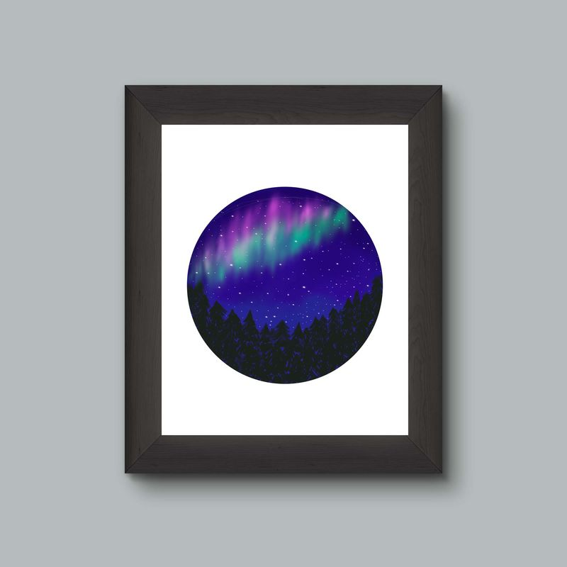 Northern Lights Tree Skyline Art Print - product images