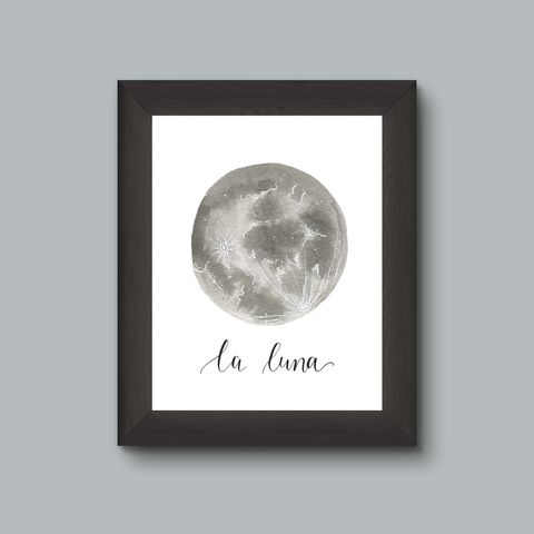 WaterColor,Moon,Fine,Art,Print,,Glow,in,the,Dark,art print, moon art, moon decor, lunar art, luna, space art, night sky art, astronomy, full moon art, glow in the dark art
