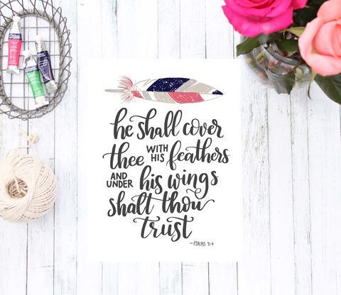 He,Shall,Cover,Thee,with,His,Feathers,Psalms,Bible,Verse,Art,Print,,Boho,Feather,Home,Decor,he shall cover thee with his feathers psalms calligraphy wreath christian art neutral home decor typography hand lettered art print script font wall poster bible