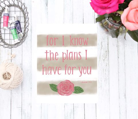 I,Know,the,Plans,Have,for,You,Bible,Verse,Art,Print,,Striped,Coral,Pink,and,Tan,Flower,Home,Decor,Jeremiah i know the plans I have for you bible verse striped flower coral pink tan calligraphy  christian art neutral home decor typography hand lettered art print script font wall poster bible