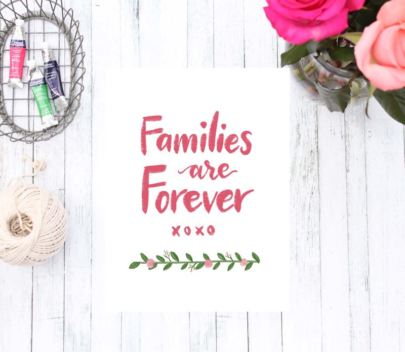 Families are Forever Art Print, Coral Pink and Flower Home Decor, LDS Hand Lettered Art - product images