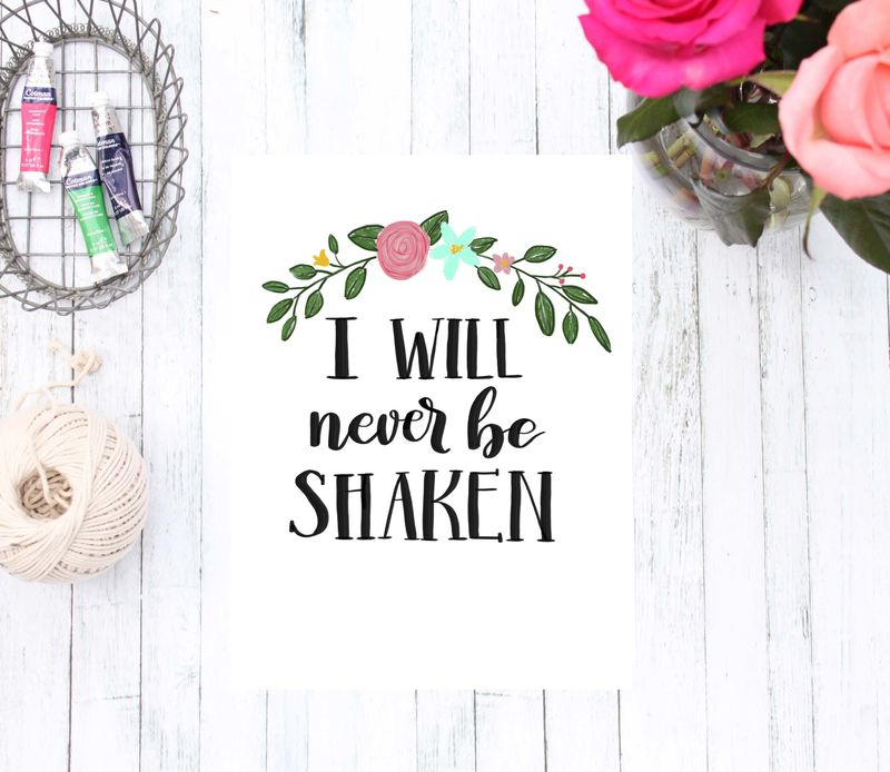 3 Print Set: He is My Rock, He is My Salvation, I Will Not Be Shaken Bible Verse Art Print, Coral Pink Aqua and Yellow Flower Home Decor - product images  of