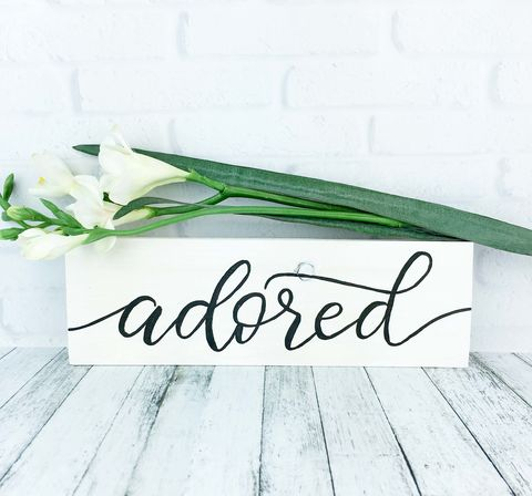 Adored,Wood,Sign,,Hand,Painted,Farmhouse,Rustic,Wooden,Decor,,White,and,Black,Quote,Sign,adored sign, hand painted wood sign, rustic farmhouse decor, shabby cottage love sign