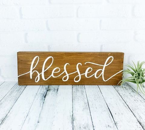 Blessed,Wood,Sign,,Hand,Painted,Farmhouse,Rustic,Wooden,Decor,,Christian,Quote,Sign,blessed sign, hand painted wood sign, rustic farmhouse decor, shabby cottage christian sign