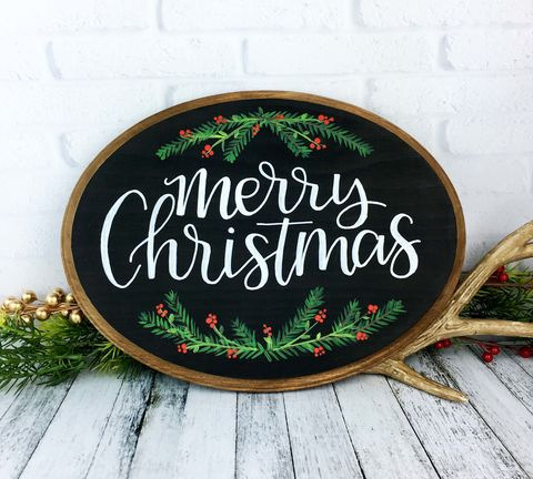 Merry,Christmas,Hand,Painted,Wood,Sign,,Chalkboard,Style,Oval,Plaque,merry Christmas sign, hand painted sign, wood painted sign, christmas decoration, holiday decor
