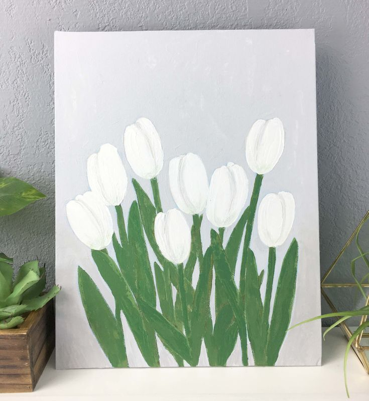 White Tulip Original Painting, Canvas Panel Wall Art Unframed, White Floral Original Art - product images