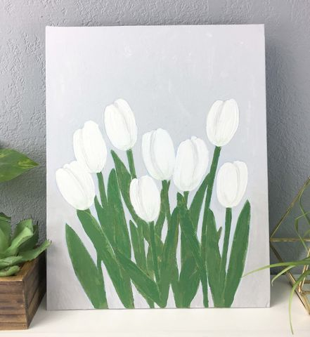 White,Tulip,Original,Painting,,Canvas,Panel,Wall,Art,Unframed,,Floral,white tulips spring farmhouse canvas art acrylic floral flower painting