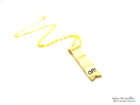 Meditate,Om,Gold,Ribbon,Banner,Necklace,meditate, zen jewelry, om, yoga jewelry, for her, necklace, releasemecreations