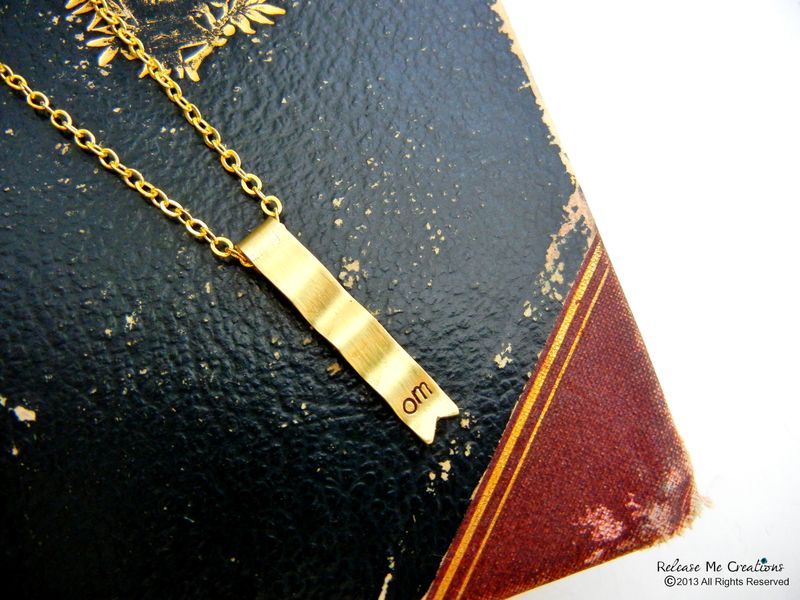 Meditate Om Gold Ribbon Banner Necklace - product image