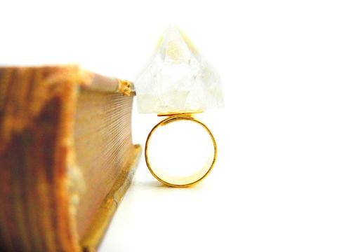 Apophyllite,Crystal,Fortress,Ring,24k,Hammered,Gold,apophyllite, pyramid, crystal, ring, 24k gold, hammered gold, gift, statement, edgy, rocker, release me creations