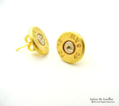 Smith,&,Wesson,Bullet,Stud,Earrings,bullet stud earrings, military wife, military mom, outdoor, nra, gun, smith and wesson, bullet jewelry, for her