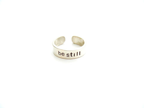 Sterling,Silver,Be,Still,Ring,Hand,Stamped,sterling silver ring, meditate, zen jewelry, om, yoga jewelry, for her, release me creations